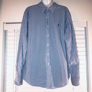 Ralph Lauren blue stripe long sleeve button down